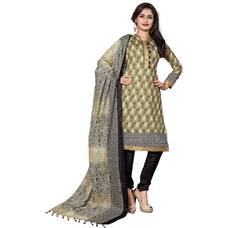 Parisha Beige Cotton Printed Salwar Suit Dress Material