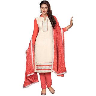Vatika Womens Chanderi Cotton Unstitched Dress Material(D049whiteFree size)