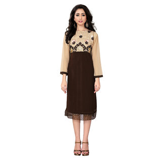 Lovely Look Brown  Beige Embroidered Stitched Kurti LLKKFRSY1004M