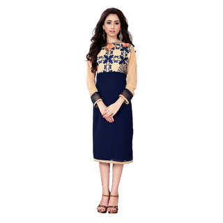 Lovely Look Navy Blue  Beige Embroidered Stitched Kurti LLKKFRSY1005XXL