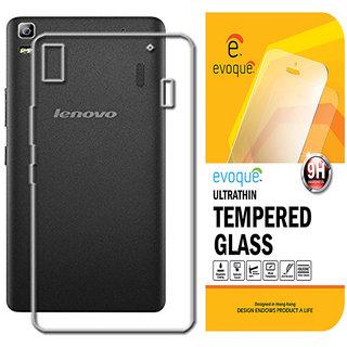 Evoque Transparent Back Cover For Lenovo A7000 With Tempered Glass