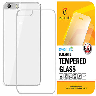 huge selection of 8749b 73c2e Evoque Transparent Back Cover For Micromax Canvas Knight 2 E471 With  Tempered Glass