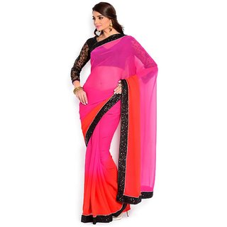 Glory sarees Pink Georgette Self Design Saree With Blouse