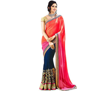 Glory sarees Blue Georgette Self Design Saree With Blouse