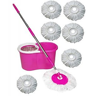 Best Home Pink Steel Mop With 6 Micro Fiber