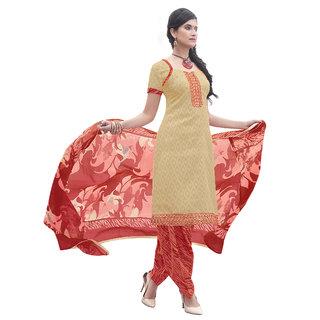 Parisha Beige Brocade Embroidered Salwar Suit Dress Material