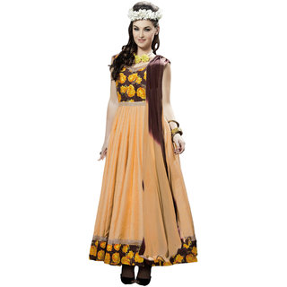 Parisha Beige Cotton Printed Anarkali Suit Dress Material