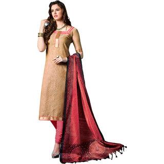 Parisha Beige Cotton Plain Kurta & Churidar Dress Material (Unstitched)