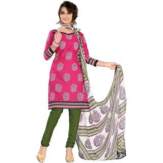 Parisha Pink Cotton Printed Kurta & Churidar Dress Material