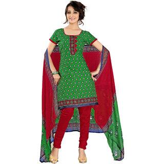 Parisha Green Cotton Printed Kurta & Churidar Dress Material (Unstitched)
