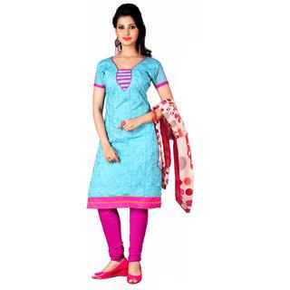 Parisha Blue Chanderi Embroidered Salwar Suit Dress Material (Unstitched)