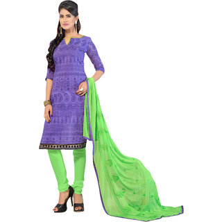 Parisha Purple Chanderi Printed Kurta & Churidar Dress Material (Unstitched)