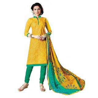 Parisha Yellow Chanderi Embroidered Kurta & Churidar Dress Material (Unstitched)