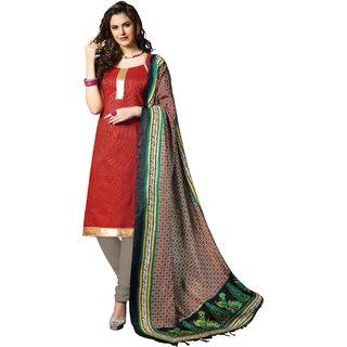 Parisha Red Cotton Plain Kurta & Churidar Dress Material (Unstitched)