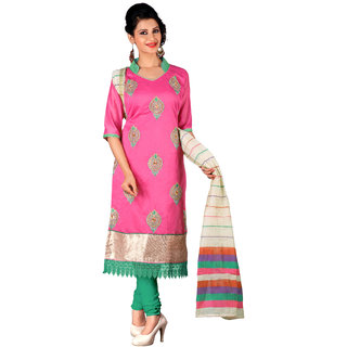 Parisha Pink Chanderi Embroidered Salwar Suit Dress Material (Unstitched)