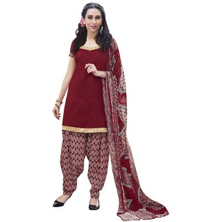 Parisha Maroon Cotton Printed Salwar Suit Dress Material (Unstitched)