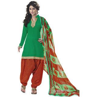 Parisha Green Cotton Printed Salwar Suit Dress Material (Unstitched)