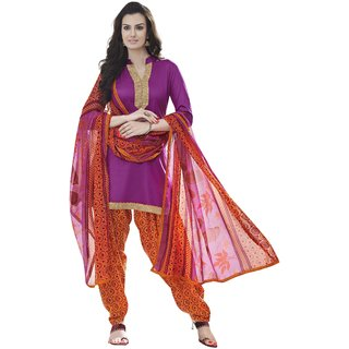 Parisha Purple Cotton Printed Salwar Suit Dress Material (Unstitched)