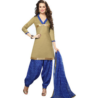 Parisha Beige Cotton Printed Salwar Suit Dress Material (Unstitched)