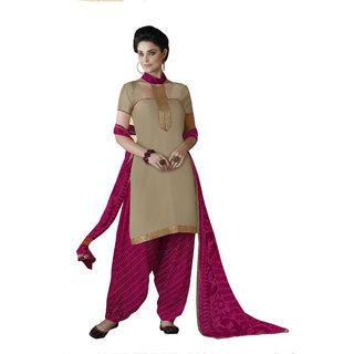 Parisha Beige Cotton Printed Salwar Suit Dress Material (Unstitched)