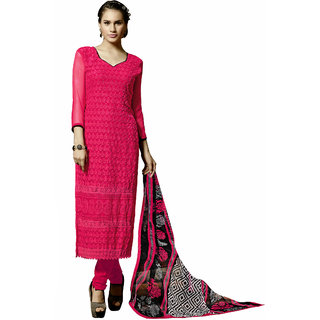 Parisha Pink Georgette Embroidered Salwar Suit Dress Material (Unstitched)