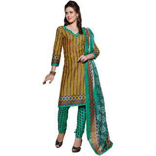 Parisha Brown Cotton Printed Kurta & Churidar Dress Material (Unstitched)