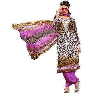 Parisha Multicolor Crepe Printed Salwar Suit Dress Material (Unstitched)