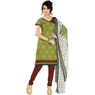 Parisha Green Cotton Printed Kurta & Churidar Dress Material (Unstitched)
