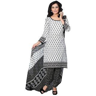 Minu Suits White Cotton Printed Unstitch Salwar Suit
