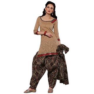 Minu Suits Brown Cotton Printed Salwar Suits Dress material