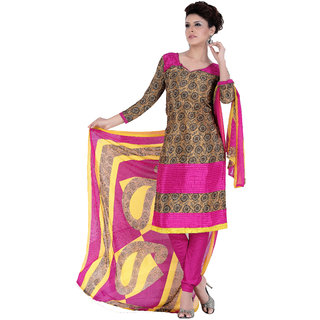 Parisha Beige Crepe Printed Kurta & Churidar Dress Material (Unstitched)