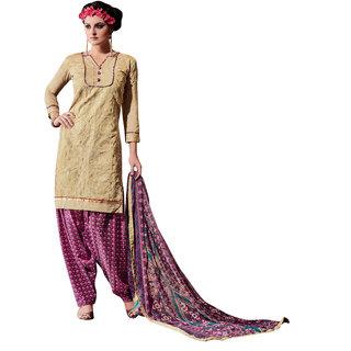 Parisha Beige Chanderi Embroidered Salwar Suit Dress Material