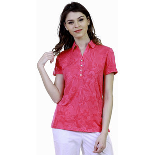 Caribbean Joe Women Floral Jacquard Polo T-shirt