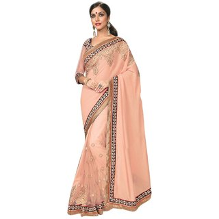Fabnil Salmon Coloured Georgette Embroidered Saree/Sari