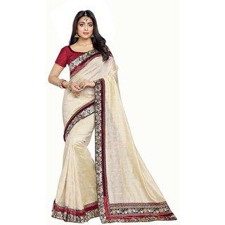 Fabnil Multi Coloured Silk Plain Saree/Sari
