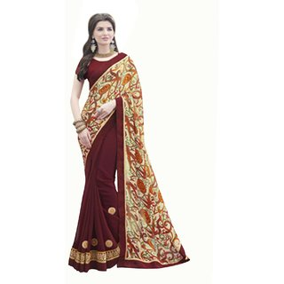 Fabnil Multi Coloured Satin Printed Saree/Sari