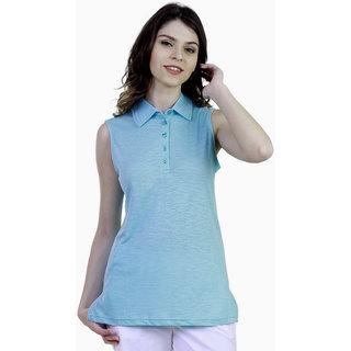 Caribbean Joe Women Mint Chip Island Polo T-Shirt