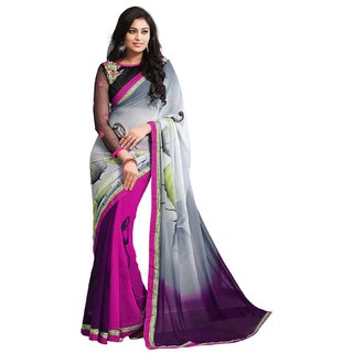 Fabnil Multi Coloured Georgette Printed Saree/Sari