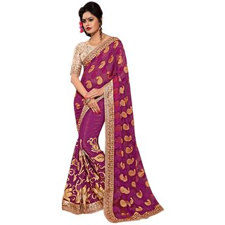 Fabnil Multi Coloured Georgette Embroidered Saree/Sari