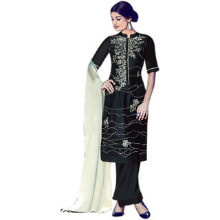 Khushi Trendz Cotton Satin Black Se Stitched Salwar Suit