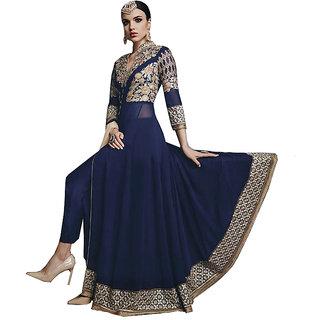 Khushi Trendz Faux Georgette Violet Semi Stitched Salwar Suit
