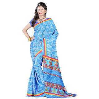 Bansy Fashion Blue Coloured Crepe Printed Saree/Sari