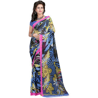Bansy Fashion Multi Coloured Faux Georgette Printed Saree/Sari