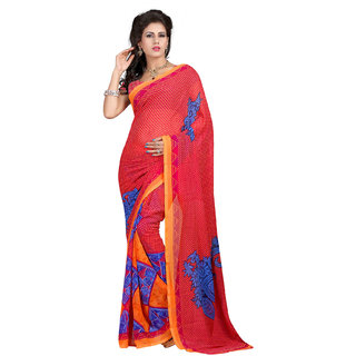 Bansy Fashion Red Coloured Faux Georgette Printed Saree/Sari