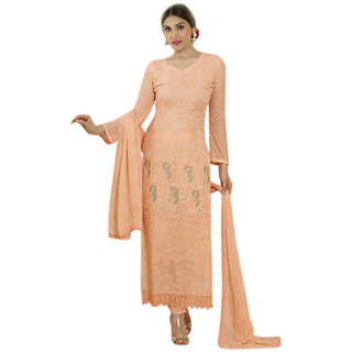 Khushi Trendz Pure Chiffon Peach Semi Stitched Salwar Suit