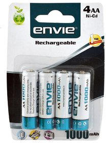Envie Rechargeable AA Batteries - Pack Of 4 ( 1 year warranty )