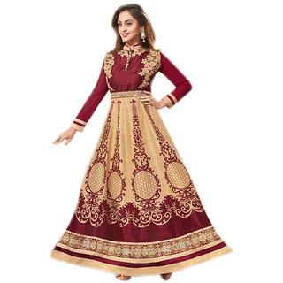 Khushi Trendz Bhagalpuri Silk Maroon Semi Stitched Salwar Suit