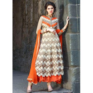 Khushi Trendz Net Orange Semi Stitched Salwar Suit