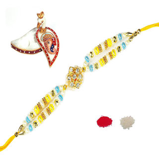 Pearl Rakhi With Multicolor Design By Shreeng