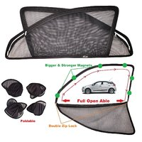Car Craft Full Open Able Zipper Magnetic and Foldable Sunshade / Sun Shade / Curtain for Hyundai i20 Elite (New Model) - Set of 4
